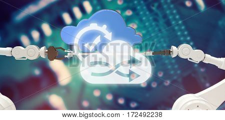 Digital image of cloud and clock with tick mark against blue printed circuit board