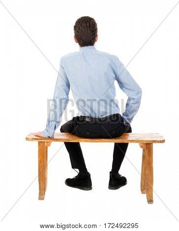 back view of business man sitting on chair.  businessman watching. Rear view people collection.  backside view of person.  Isolated over white background. Businessman resting on a park bench
