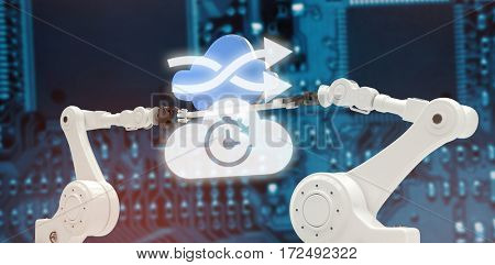 Digital image of arrow sign with cloud against blue pcb