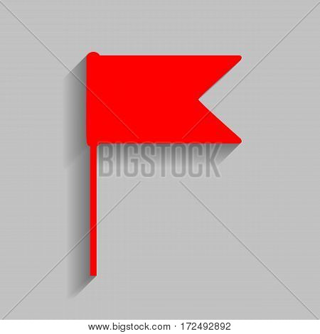 Flag sign illustration. Vector. Red icon with soft shadow on gray background.