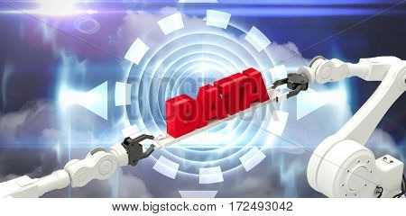 Robotic hands holding red data message over white background against blue technology design with circle