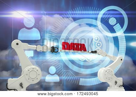Robotic hands holding red data text over white background against blue technology design with profiles