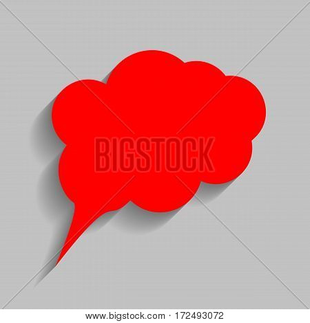 Speach bubble sign illustration. Vector. Red icon with soft shadow on gray background.