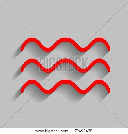 Waves sign illustration. Vector. Red icon with soft shadow on gray background.