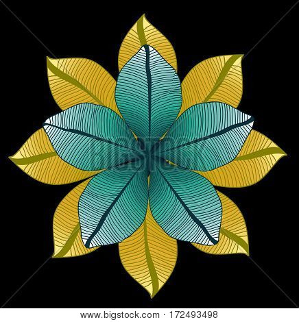 Floral pattern. vector round drawing with leaves. Foliage