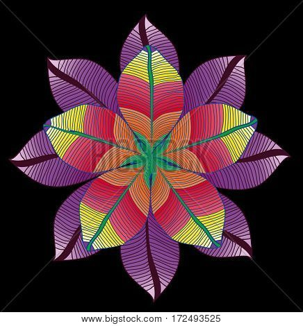 Colored vector circles with leaves. Season symmertrical pattern.