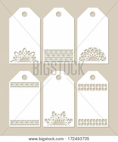Set stencil labels with carved openwork pattern. Image suitable for laser cutting