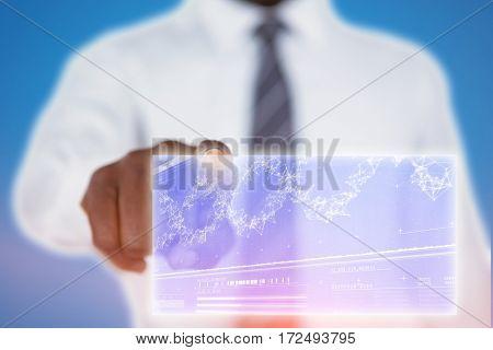 Businessman using digital screen against genes diagram on darkred background