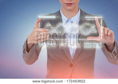 Businesswoman hand gesturing against white background against genes diagram on white background