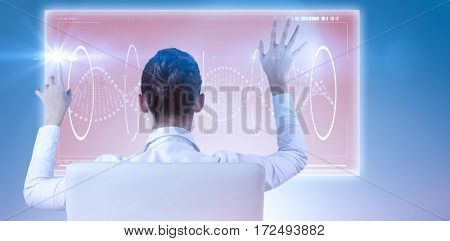 Rear view of businesswoman using digital screen against blue vignette