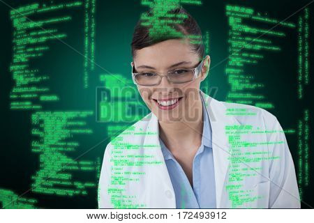 Female doctor smiling against white background against green background with vignette