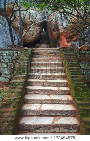 Stairway in Sigiriya Lion Castle, Sri Lanka