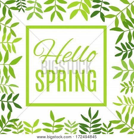 Vector illustration of Hello spring greeting card.