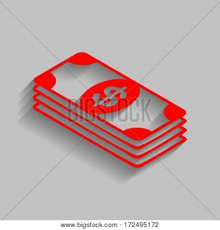 Bank Note dollar sign. Vector. Red icon with soft shadow on gray background.