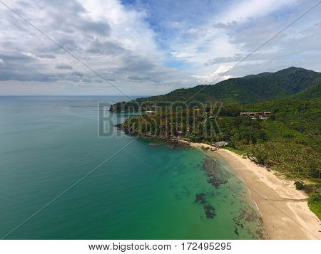 Aerial nature landscape with beach, rocks and sea on Koh Lanta island, Thailand