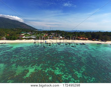 Aerial view on tropical Koh Lipe island in the Andaman Sea, Thailand