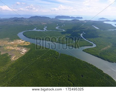 Aerial photo of estuaries and strait on Ko Lanta island, Thailand