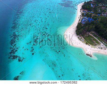 Top view aerial photo of tropical beach and sea, Koh Lipe island, Thailand