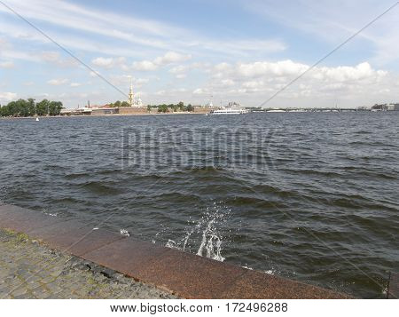 View at the Admiralty across Neva River in Saint Petersburg, Russia