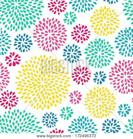 Abstract splash drops seamless pattern with bright colors. Holi festival background.  Doodle style. Vector illustration.