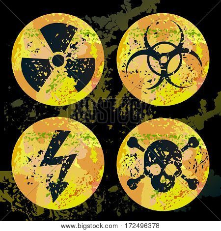 Set of four bright warnings signs for  radiation, biohazard, high voltage and poison.