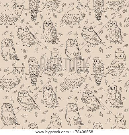 Seamless Pattern With Owls And Wild Forest Leaves
