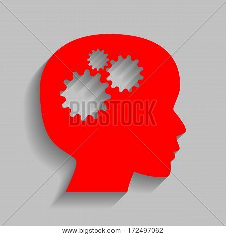 Thinking head sign. Vector. Red icon with soft shadow on gray background.