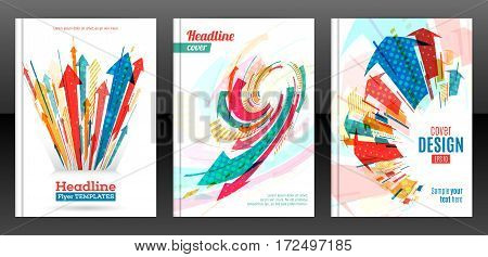 Abstract arrows vector brochure template. Flyer with arrows stripes motion and dynamics. Cover layout with flat style. Modern design for poster and banner. Annual report design templates. Vector eps