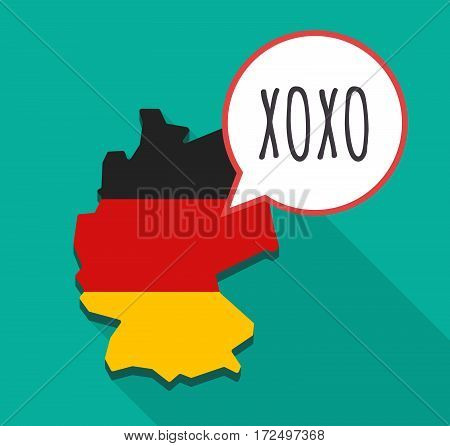 Long Shadow Germany Map With    The Text Xoxo