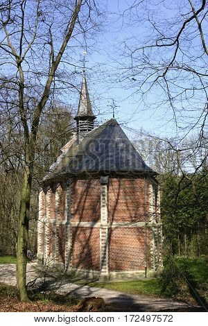 The little catholic chapel in a park, The Flanders, Belgium