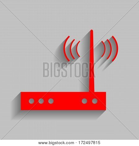 Wifi modem sign. Vector. Red icon with soft shadow on gray background.