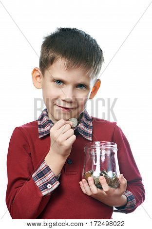 Little Boy With Coin And Glass Jar Moneybox Isolated