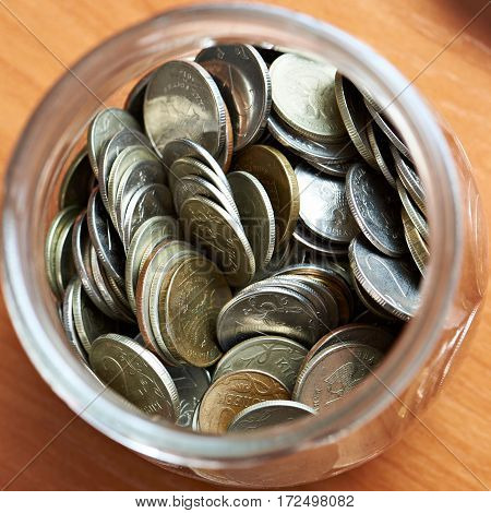 Coins Rubles In A Glass Jar