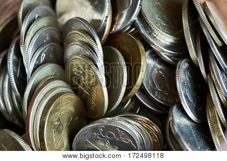 Coins Rubles In Glass Jar