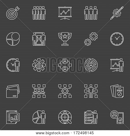 Project management line icons. Vector collection of business management and development outline creative signs on dark background