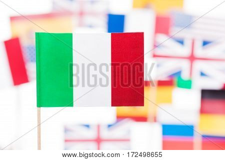 Close-up picture of Italian flag against European Union member-states flags