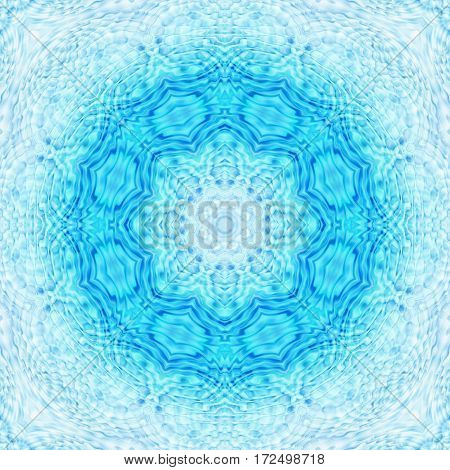 Abstract bright blue background with concentric pattern