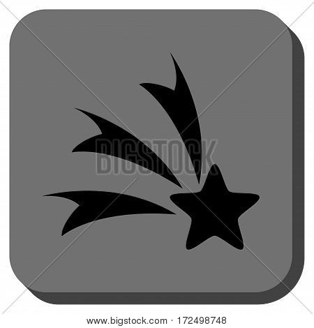 Falling Star interface button. Vector pictogram style is a flat symbol centered in a rounded square button black and gray colors.