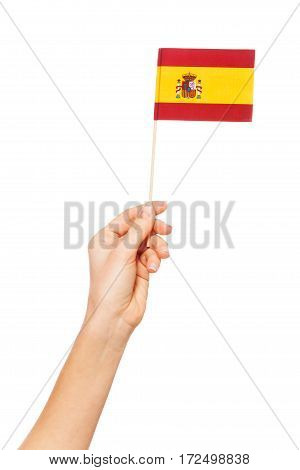 Hand holding the national flag of Spain by flagpole, isolated on white