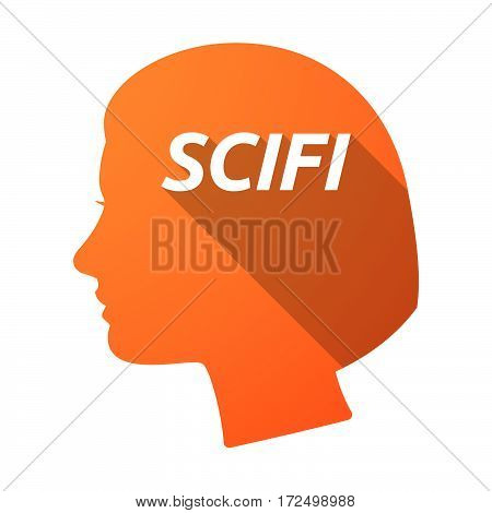 Isolated Female Head With    The Text Scifi