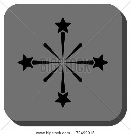 Fireworks interface toolbar button. Vector pictograph style is a flat symbol centered in a rounded square button black and gray colors.