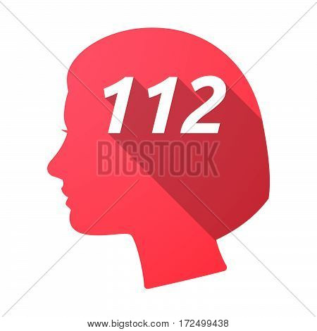 Isolated Female Head With    The Text 112