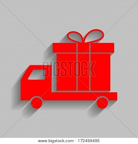 Delivery gift sign. Vector. Red icon with soft shadow on gray background.