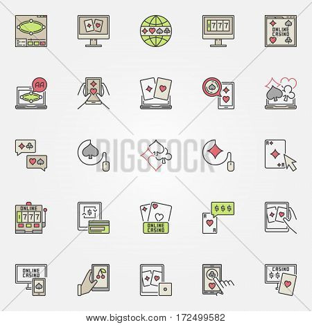 Colorful online casino casino icons. Vector set of online poker and internet casino signs