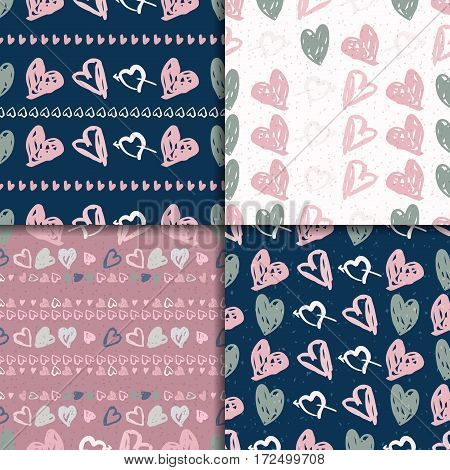 Doodle seamless pattern set with hearts. Vector valentines day backgrounds.