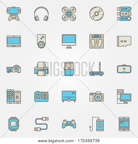 Devices colorful icons. Vector quadrocopter, smartwatch, clocks, smart scales, laptop and other gadgets creative signs