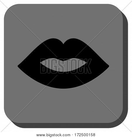 Lips interface button. Vector pictogram style is a flat symbol on a rounded square button black and gray colors.