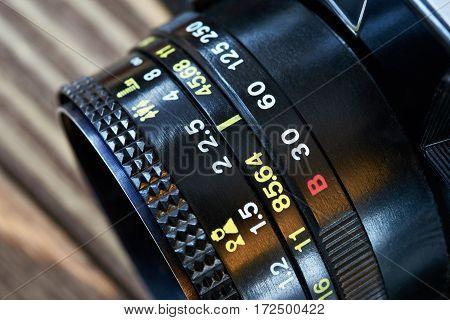 The retro photo camera with lens closeup