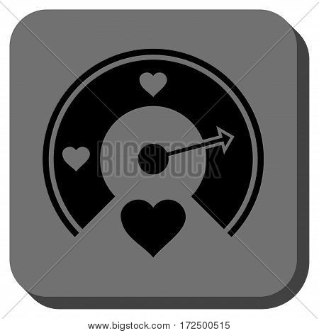 Love Gauge rounded button. Vector pictograph style is a flat symbol inside a rounded square button black and gray colors.