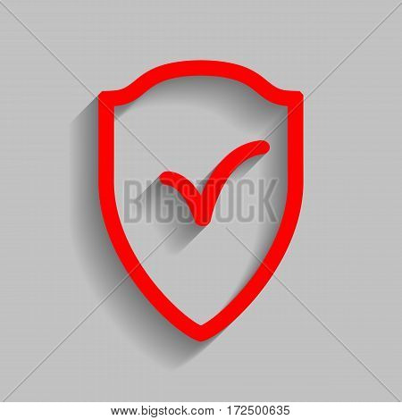 Shield sign as protection and insurance symbol Vector. Red icon with soft shadow on gray background.